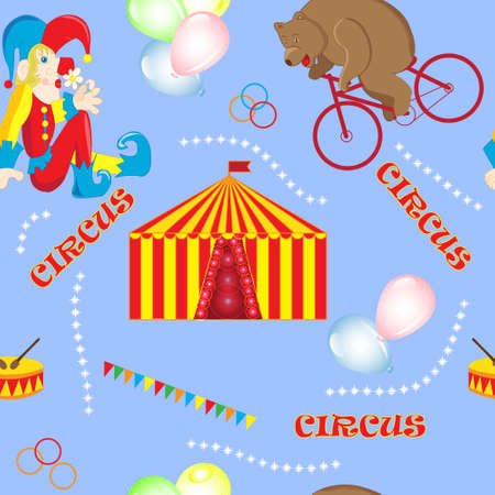 tightrope walker: Set of vector illustrations on the theme of a circus bear on a Bicycle, tightrope Walker on the ball, the clown and elephant, circus tent