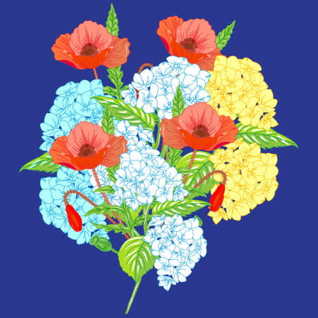 lug: Beautiful summer flowers. A bouquet of hydrangeas and poppies on a bright blue background.