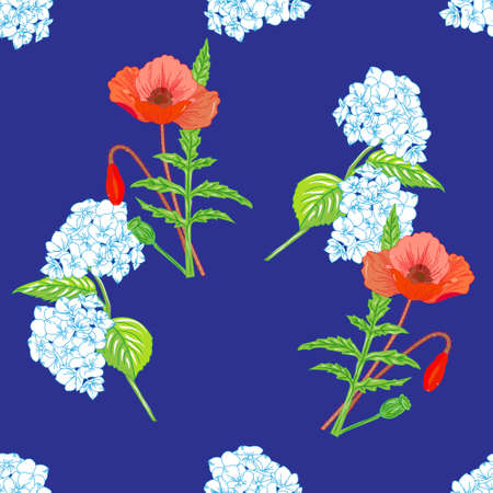 lug: Seamless pattern of blooming hydrangeas and bright red poppies on a blue background. Illustration