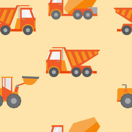 yellow tractors: Set of construction equipment and tools, vector image.flat icons Illustration