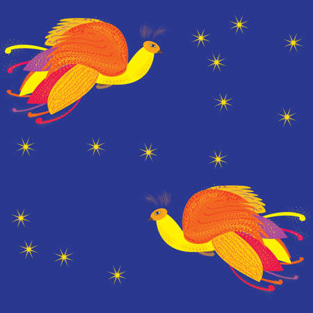 mythical phoenix bird: Decorative card with the Firebird , feathers seamless background with heat-birds on a blue background