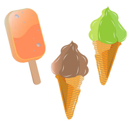 pistachio: caramel ice cream on a stick, two waffle cone with chocolate and pistachio ice cream Illustration