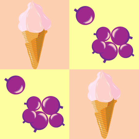 black berry: seamless pattern with berry ice cream in a waffle cone and berries of black currant