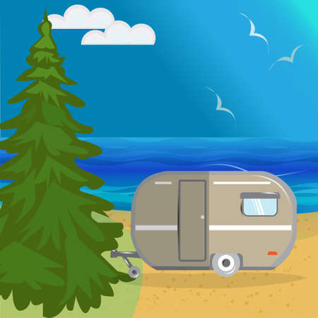 huge tree: Vector summer sea landscape with a huge Christmas tree, beach, beautiful sea, blue sky Illustration