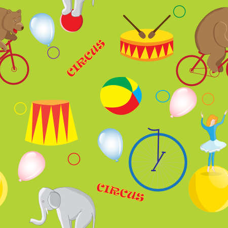tightrope walker: Seamless pattern on the theme of a circus bear on a red bike, elephant on ball, balloon girl and circus accessories