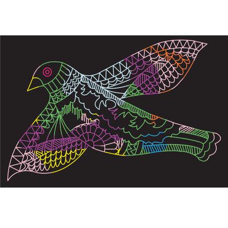 small flock: Doodle drawing flying birds, vector illustration