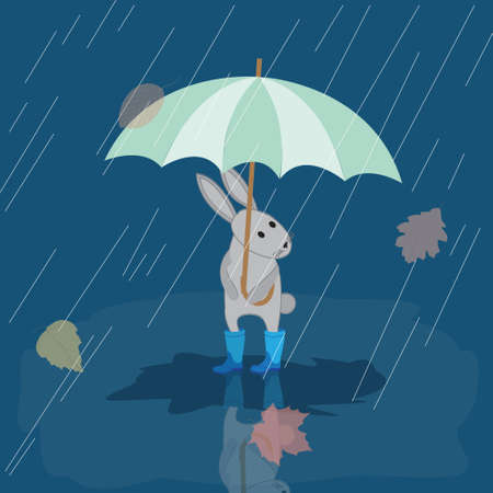 wellies: Card Bunny in rubber boots in the rain with umbrella, autumn picture, vector illustration Illustration