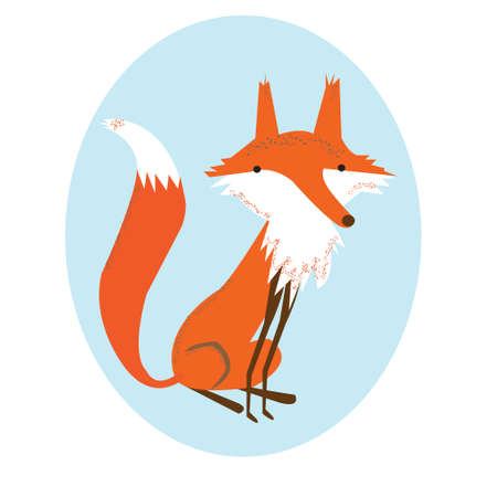 Cute little Fox in the forest Illustration