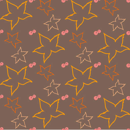 cowberry: autumn seamless pattern with silhouettes of leaves and berries of a cowberry on a warm brown background