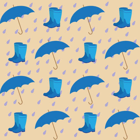 rubber boots: seamless pattern on the background of the rain drops umbrellas and rubber boots Illustration