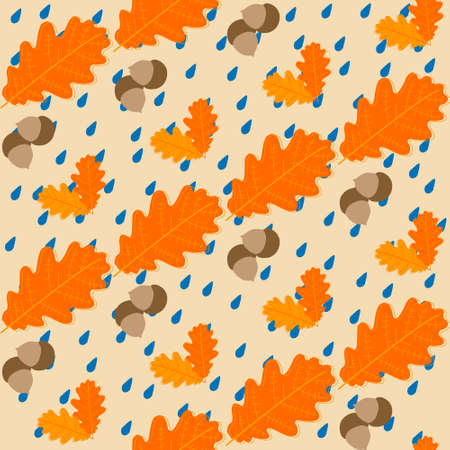 bad weather: autumn seamless pattern on the background of the rain drops bright oak leaves and acorns Illustration