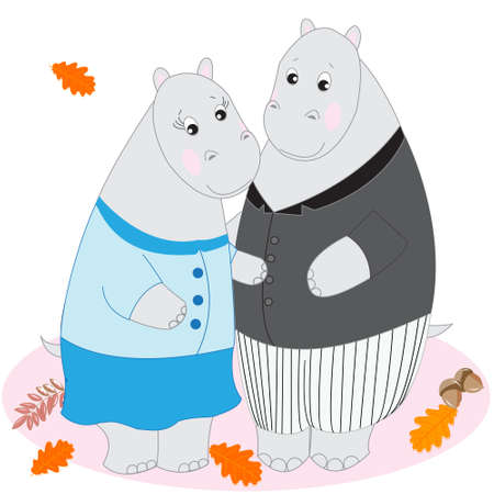 tenderness: Cute cartoon animals, Doodle drawing hippos, love and tenderness, vector illustration Illustration