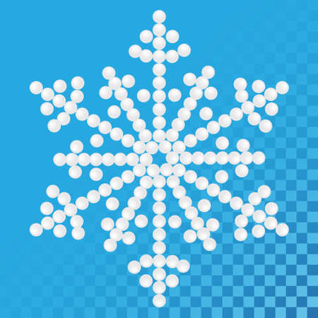 Bright snowflake with pearls, vector illustration