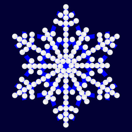rime frost: Bright snowflake with pearls, vector illustration
