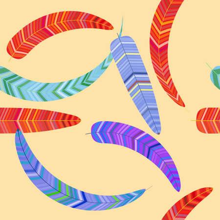 Seamless pattern of fancy feathers, vector illustration Illustration