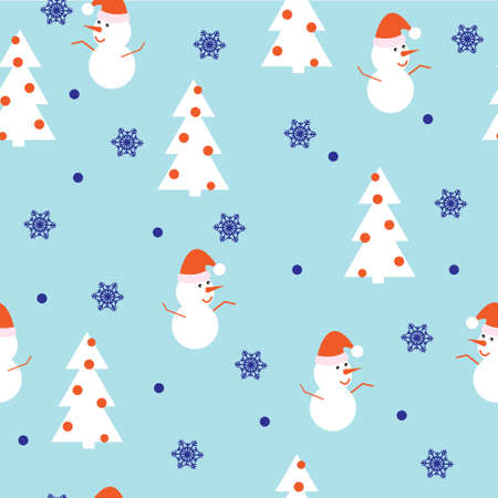 Christmas seamless pattern with snowman, Christmas tree and snowflakes on a cool blue winter background