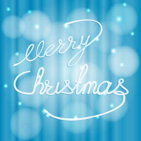 Lettering, hand lettering, merry Christmas blue winter holiday background