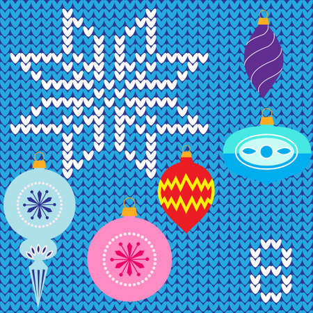 advent calendar: Colorful advent calendar, countdown to Christmas ,eight days of Christmas poster - Christmas decorations on knitted background Illustration