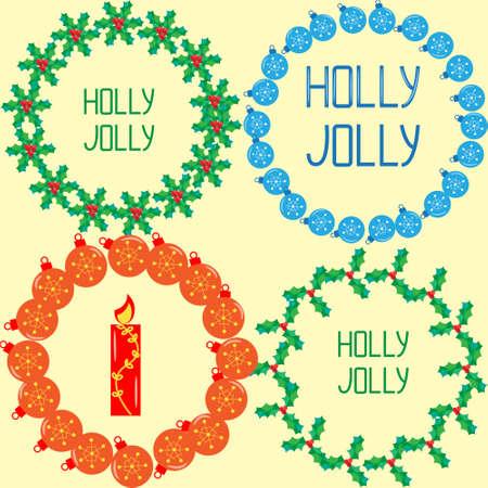guirnaldas navideñas: guirnaldas de Navidad de las bolas elegantes, canción del acebo, letras de la mano
