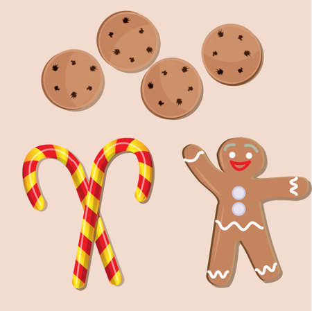 candy canes: Christmas icons set, biscuits, gingerbread man and candy canes