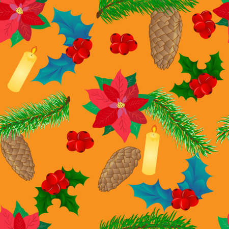 Christmas seamless pattern with symbols of Christmas and new year, the leaves and berries of Holly, poinsettias and candle