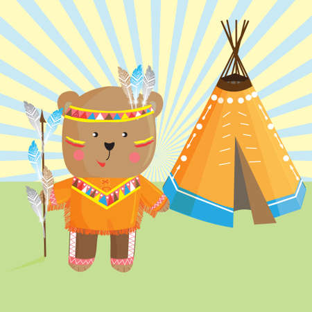 Cute bear Indian ,headdress and traditional clothing of the indigenous people and the Lodge .Vector illustration in cartoon style for design-shirt toddler or childrens historical map