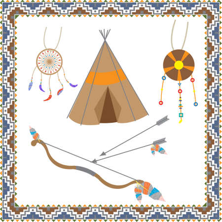 The set of objects of native American jewelry made of feathers and stones, tepee - dwelling, totem Dreamcatcher, and bow and arrow on a white background decorated with a pattern in Indian style Illustration