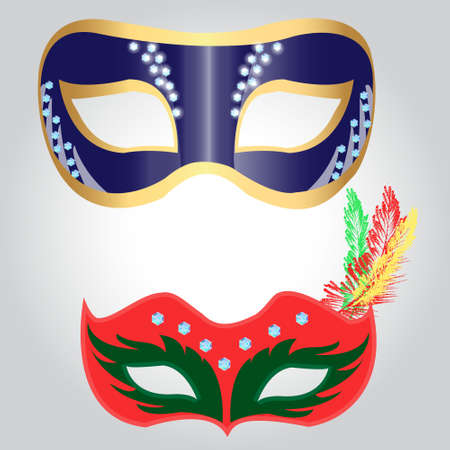 Mask for carnival or masquerade, decorated with glittering crystals and colorful feathers, vector illustration for poster, ads, postcards