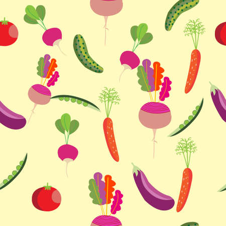 Seamless pattern with vegetables. Peas, tomato, cucumber, eggplant, garlic, onions, peppers, carrots, beets and radishes.