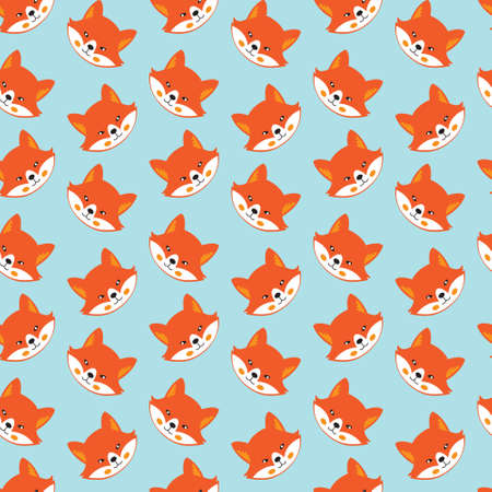 Seamless pattern with cute fox, flat style, vector illustration