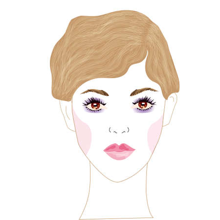 A vector portrait of a young beautiful woman with beautiful brown eyes and brown hair, tied in a beautiful hairstyle and fresh, light make up. print