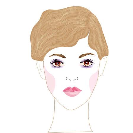 Un portrait de vecteur d'une belle jeune femme avec de beaux yeux bruns et les cheveux bruns, attachés dans une belle coiffure et maquillage frais et léger. impression Banque d'images - 80717819