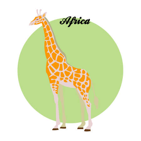 Giraffe illustration on the background of the circle with the inscription Africa. Vector.