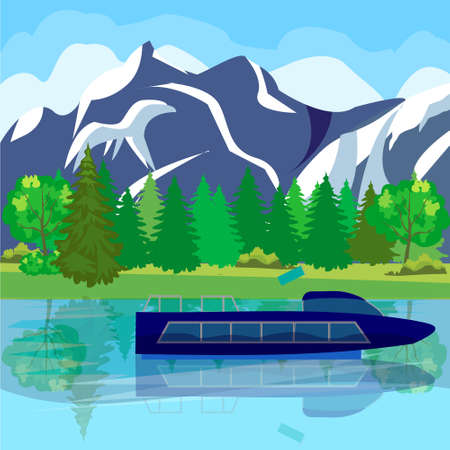Cartoon illustration of a ship, boat, yacht, boat against the sea and mountain landscape Illustration