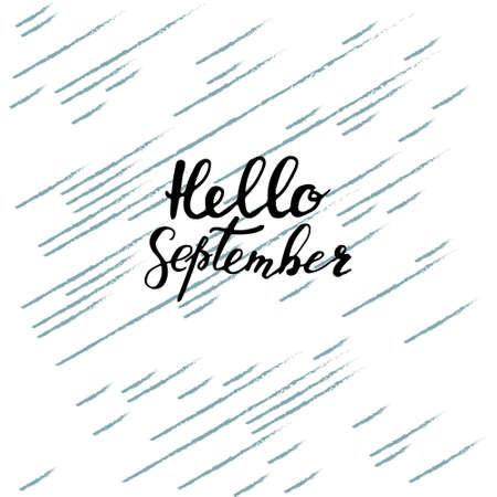 Hello September, hand brush lettering vector design.