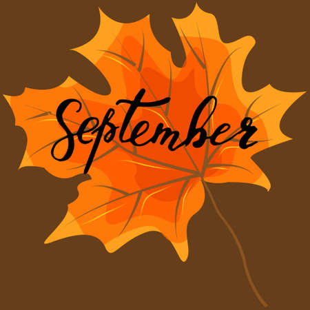 September, hand lettering, quotes.Modern motivation calligraphy, typography for the poster, invitations, greeting cards. Illustration
