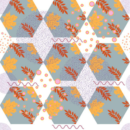 Abstrait motif automnal à l'automne avec des feuilles et des éléments de conception. Illustration vectorielle. Mosaïque et motifs géométriques.