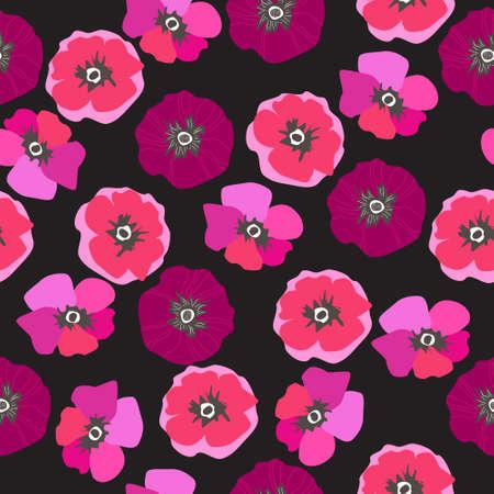 Seamless pattern with poppies, floral background. Scandinavian motifs Vettoriali