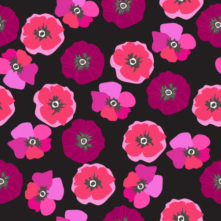 Seamless pattern with poppies, floral background. Scandinavian motifs Illustration
