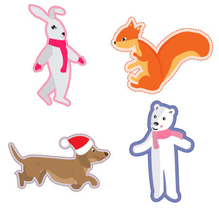 Funny animals in the form of stickers. White bear, Christmas Dachshund, red squirrel and hare. Ilustracja