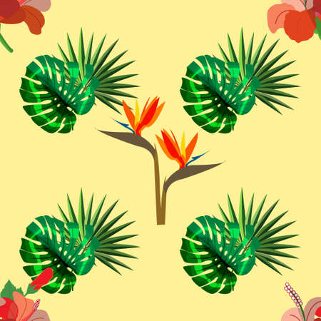 Exotic hand drawn botanical vector pattern with green palm leaves and exotic plants.