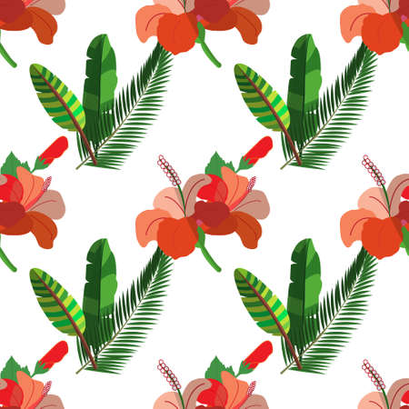 Exotic seamless hand drawn Botanical vector pattern with green palm leaves and exotic plants , vector illustration Stock Illustratie