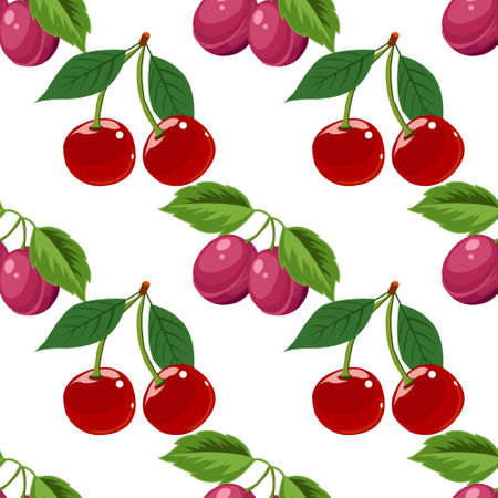 Hand drawn cherry and plum seamless pattern on white background, vector illustration Illusztráció