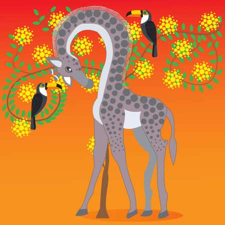 ●アカシア花の木の隣のキリン、アフリカの動植物、落書きスタイルフラット、ベクターイラスト 写真素材 - 102009620