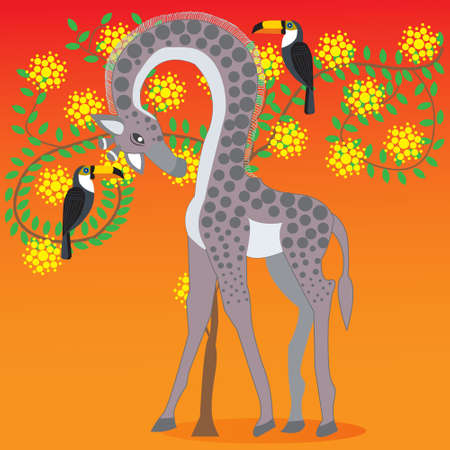 Giraffe next to acacia blossom tree, African animals and plants, Doodle style flat, vector illustration Illustration