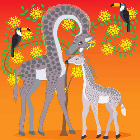 Giraffe-mom and baby giraffe next to acacia tree flowering, on the background of hot African summer, African animals and plants, Doodle style flat, vector illustration