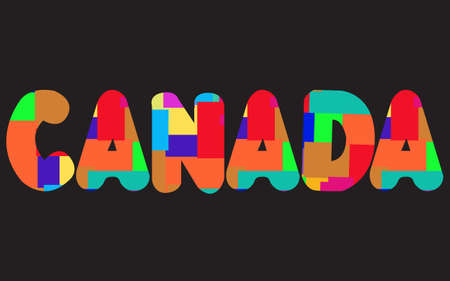 The words CANADA concept written in colorful abstract typography. Vector illustration. Illustration