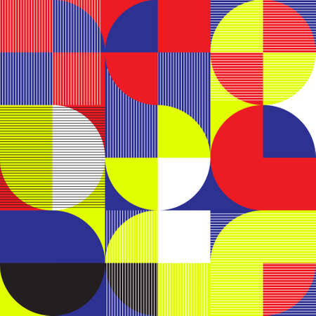 Seamless geometric pattern in modern abstract style bauhays, vector illustration