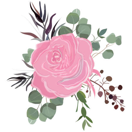 Delicate bouquet for your beloved, vector illustration for wedding and anniversary cards, banners, posters and cards.
