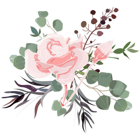 Delicate bouquet for your beloved, vector illustration for wedding and anniversary cards, banners, posters and cards. 向量圖像